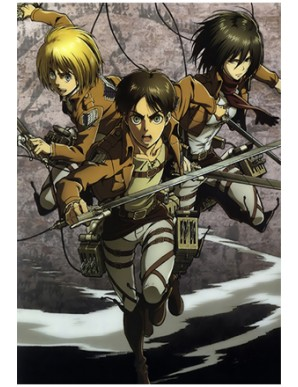 Poster Framed Attack on Titan - 3D Print 30x40cm